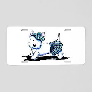 KiniArt Westie Blue Kilt Aluminum License Plate