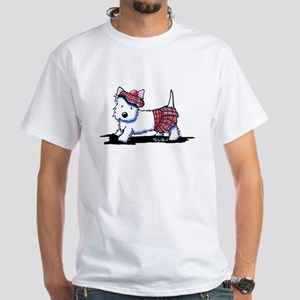KiniArt Westie Red Kilt White T-Shirt