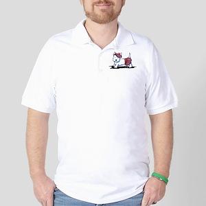 KiniArt Westie Red Kilt Golf Shirt