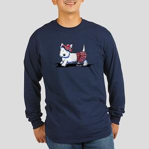 KiniArt Westie Red Kilt Long Sleeve Dark T-Shirt