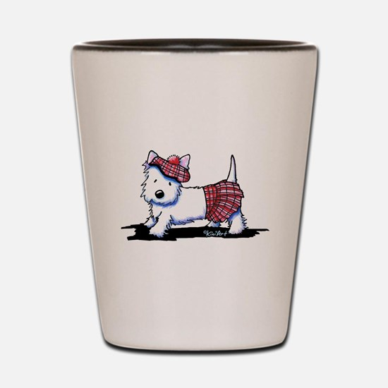 KiniArt Westie Red Kilt Shot Glass