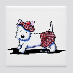 KiniArt Westie Red Kilt Tile Coaster