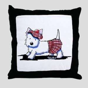 KiniArt Westie Red Kilt Throw Pillow