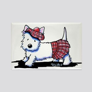 KiniArt Westie Red Kilt Rectangle Magnet