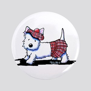 "KiniArt Westie Red Kilt 3.5"" Button"