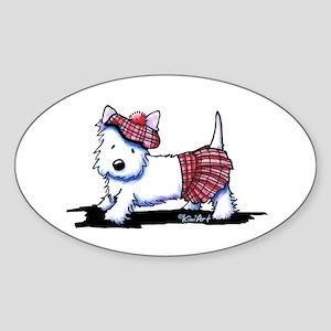 KiniArt Westie Red Kilt Sticker (Oval)