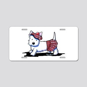 KiniArt Westie Red Kilt Aluminum License Plate