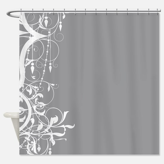 Shabby Chic Grey Chandelier Shower Curtain