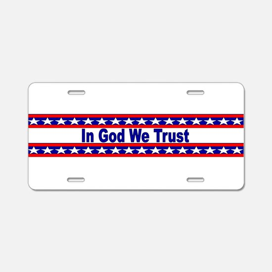 In God stripes Aluminum License Plate