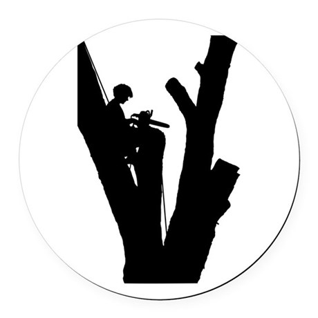 Tree Cutter Round Car Magnet