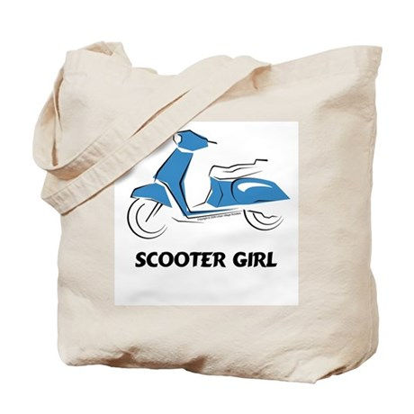 Scooter Girl (Blue) Tote Bag