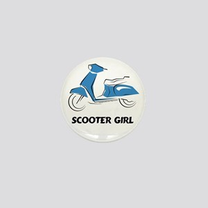 Scooter Girl (Blue) Mini Button