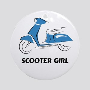 Scooter Girl (Blue) Ornament (Round)
