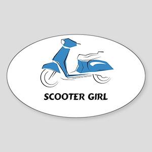 Scooter Girl (Blue) Oval Sticker