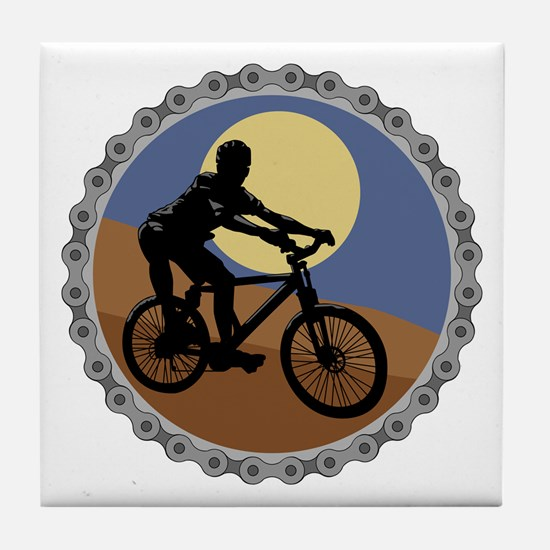 Mountain Bike Chain Design Tile Coaster
