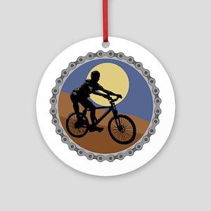 Mountain Bike Chain Design Ornament (Round)