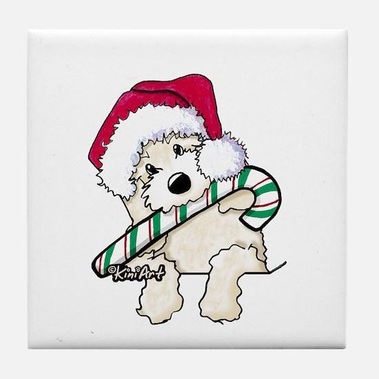 Candycane Cutie Pocket Doodle Tile Coaster