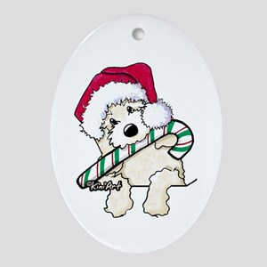 candycane cutie pocket doodle ornament oval - Goldendoodle Christmas Ornament
