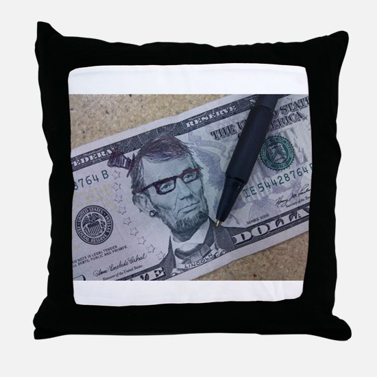 Hipster Lincoln Throw Pillow