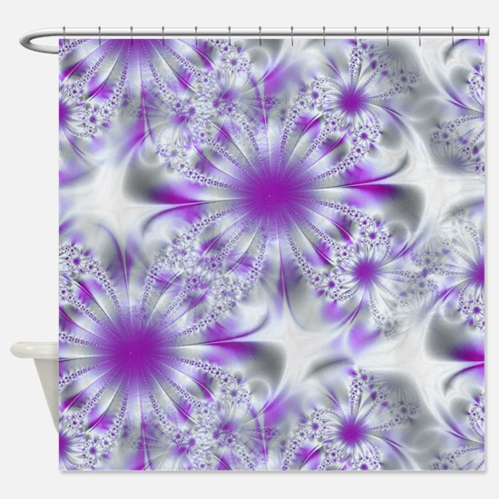 Abstract Purple and White Shower Curtain