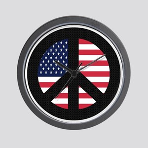 Peace Sign with American Flag Wall Clock