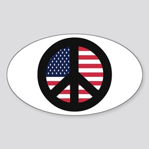 Peace Sign with American Flag Oval Sticker