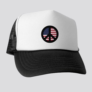 Peace Sign with American Flag Trucker Hat