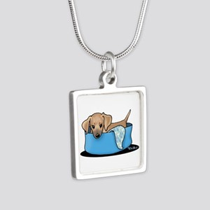 Mountain Cur Puppy Silver Square Necklace