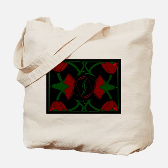 Art Deco Tulips, Red Flowers Tote Bag