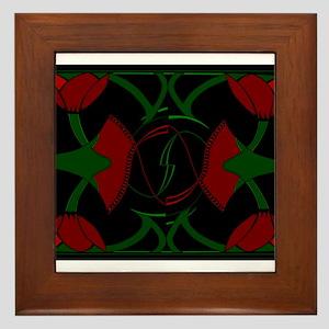 Art Deco Tulips, Red Flowers Framed Tile