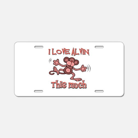 I love Alvin this much Aluminum License Plate
