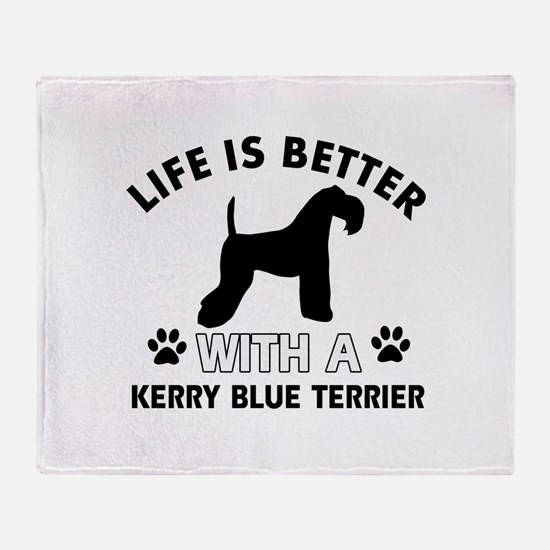 Funny Kerry Blue Terrier lover designs Throw Blank