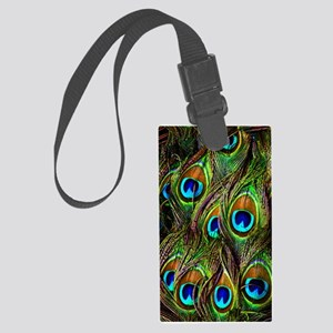 Peacock Feathers Invasion Large Luggage Tag