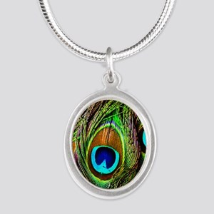 Peacock Feathers Invasion Silver Oval Necklace