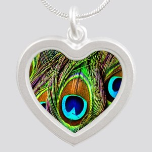 Peacock Feathers Invasion Silver Heart Necklace