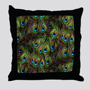 Peacock Feathers Invasion Throw Pillow