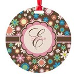 Personalized Name Flower Pattern Ornament