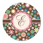 Personalized Name Flower Pattern Round Car Magnet