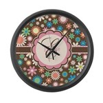 Personalized Name Flower Pattern Large Wall Clock