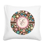 Personalized Name Flower Pattern Square Canvas Pil