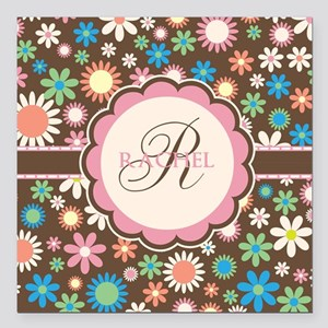 Personalized Name Flower Pattern Square Car Magnet