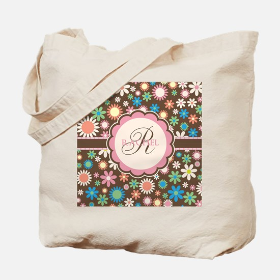Personalized Name Flower Pattern Tote Bag