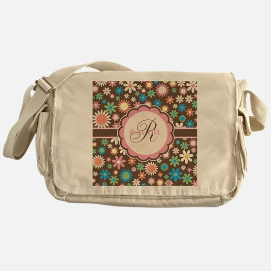 Personalized Name Flower Pattern Messenger Bag