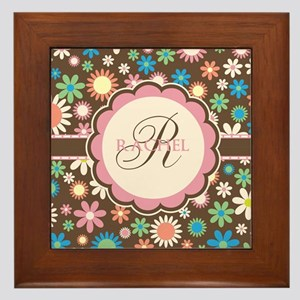 Personalized Name Flower Pattern Framed Tile