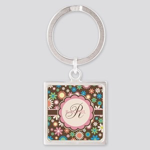 Personalized Name Flower Pattern Keychains