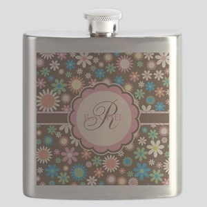 Personalized Name Flower Pattern Flask