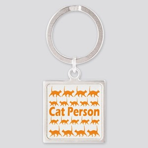 Orange Cat Person Keychains