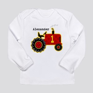 Red Tractor 1st Birthday Personalized Long Sleeve