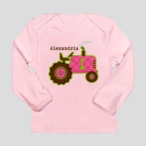 Pink Tractor 1st Birthday Personalized Long Sleeve