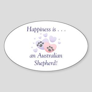 Happiness is...an Australian Shepherd Sticker (Ova